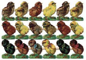 Oblaten Bogen geprägt 18 kleine Küken Ostern Frühling - DIE CUT SCRAPS