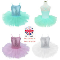 UK Kids Girls Ballet Dance Dress Leotard Tutu Skirt Dancewear Ballerina Costume