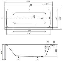 Badewanne Rechteck Acryl  140x70, 150x70, 160x70, 170x70  Schürze MODERN Wanne