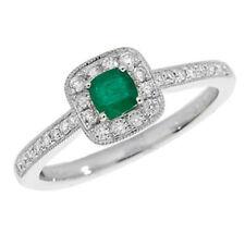 Cushion Fine Diamond Emerald Rings