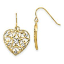 Filigree Cut-Out Heart Wire Earrings In Real 14k Yellow Two Tone Gold 1.94gr