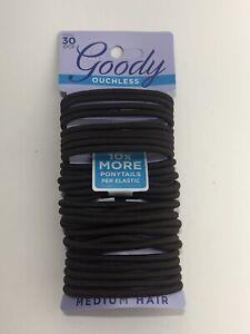 Goody Non-Metal Elastics 30 ct Medium Hair Dark Brown 10902 Ouchless