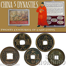 CHINA 5 DYNASTIES - Twenty Centuries - Set of 5 Ancient Bronze Cash Coins in Box