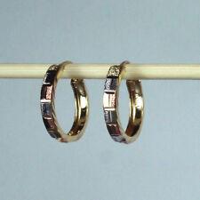 14K solid tri-color gold diamond cut Hoop earrings 1.5 gram