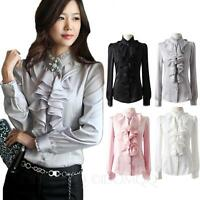 Lace Collar Silky Blouse vintage Ladies Long Sleeve Top Ruffle Satin Shirt Size