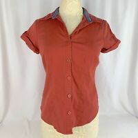 Van Heusen Button Down Blouse Womens Medium Stretch Rust Color Short Sleeve