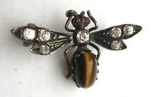 Antique Victorian Silver, Tigers Eye & Paste Bug Insect Brooch