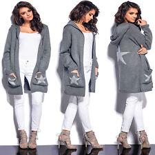 Damen Sweatshirt Pullover Cardigan Strickjacke Longshirt Kapuzenjacke Sweat