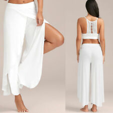 Women Slit Flared Palazzo Trousers Wide Leg High Loose High Cut Yoga Harem Pants