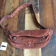 NEW Free People Women's Back 2 Kool Suede Belt Bag With Studded Details Rust