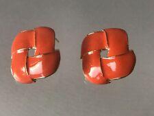 Stud Earrings Gold Tone Trim Orange Enamel Square Twist Knot
