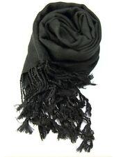 Accessoire mode : écharpe étole pashmina 70% et soie 30% couleur noir