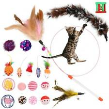20pcs/set Pet Cat Toys Kitten Rod Mouse Feather Bell Ball Fur Scratch Teaser Rat