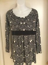 Duo maternity Long sleeve Cotton/model Top Black & White Size Large