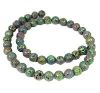 😏 Lava bunt galvanisierte Kugeln 8 mm Perlen Strang für Kette, Armband + 😉