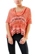 Free People Women's Eternal Delight Oversized Pullover Coral RRP £98 BCF69
