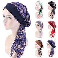 Muslim Women Turban Floral Chemo Caps Stretch Wrap Head Scarf Cover Hat Headwear