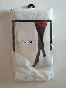 Leg Avenue Women Opaque White Hold Up Stockings with Satin Bow Designer Hosiery