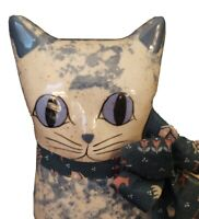 """Katy's """"Country Charm"""" Ceramic Cat By Karen Made in U.S.A. 10"""" Signed"""