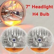 Pair 7'' Blue Dot Glass Tri Bar Headlight H4 Bulb With & Turn Signal Indicator