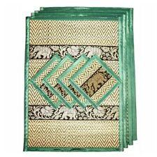 Coasters Placemat Thailand Mat Dining Silk Reed Elephant Table Green Color Set 4