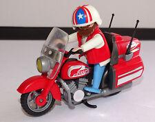 PLAYMOBIL MOTO ROUGE ROUTIERE  ET MOTARD BIKER MOTO CHOPPER  OCCASION
