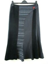 Black mix maxi skirt size 14 various fabric & stripe red button steampunk goth