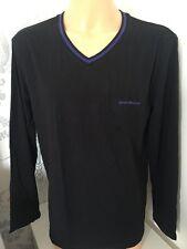 BNWT en caja para hombre negra Emporio Armani L/Manga Escote en V camiseta. Tallas: S-XL