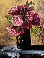 painting on canvas original bouquet flowers vase roses