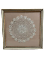 """Vintage Framed Hand-Made Crocheted Lace Doily 13.5""""  Framed Whitewash Wood Glass"""