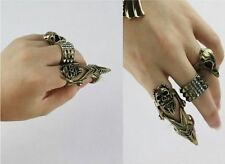 Unisex Cool Goth Skull Armor Knuckle Hinged Long Full Joint Double Finger Ring