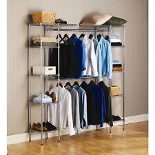 Seville Expandable Closet Organizer System Heavy Duty Shelves Clothes Shelf Rod