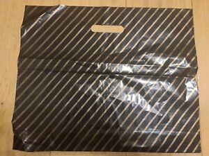 "40x BLACK & GOLD PLASTIC CARRIER BAGS HEAVY DUTY 15""x 18"" + 3"""