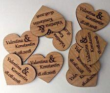 50 Streudeko Holz Herz Tischdeko Braut Bräutigam Name + Datum Hochzeit Deko 4cm