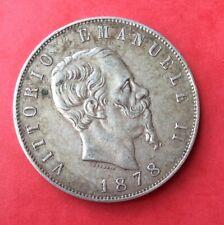 Italie - Vittorio Emanuele II - Jolie monnaie 5 Lires 1878 R - date plus rare