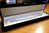 White gold finish created diamond bracelet comes in black luxury ebony box
