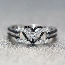 """Women""""s Ring Silver Plated Fashion Size 10 Black Heart Infinity Thumb Finger"""