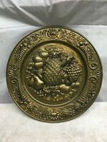 """1 Vintage Peerage Brass 14"""" Wall Plate - """"Fruit""""  Made In England Hanging"""
