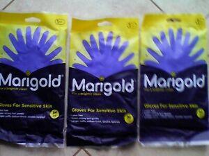 THREE PACKS Marigold Rubber Gloves for Sensitive Skin Medium Size 1 pair