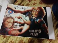 Brad Dourif, Alex Vincent And Ed Gale Autograph/Signed Chucky Child's Play 11x14