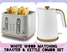 White Wood 4 Slices Bread Toaster Matching Kettle Set Kitchen Home Office Luxury