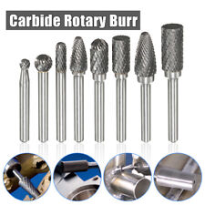 8Pcs 1/4''Shank Groove Double Cut Carbide Rotary Burr Set Bur File Power Tool US