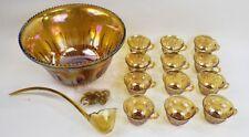 Vintage 26pc Indiana Glass Gold Carnival Iridescent Harvest Grape Punch Bowl Set