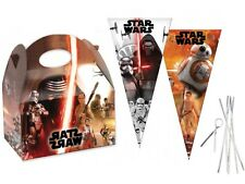 12 Star Wars Party Food Boxes & Matching Cone Sweet Loot Favour Bags & Tie