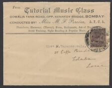 India 1937 advert cover Music Class at Kennedy Bridge Bombay