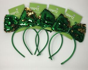 Spritz St Patrick's Day Emerald Green/Gold Sequin Bow Headband One Size Lot of 4