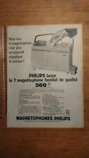 PUBLICITE ANCIENNE - Philips magnétophone familial (paris match années 60)