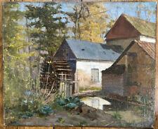 Tableau Impressionnisme Paysage Campagne Moulin Huile signée A Decamps 1862-1908