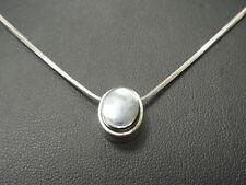 925er Silber Halskette mit Onyxanh��nge KL 42 cm anhänger DM1,1 cm gew 6,7 Gramm