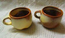 2 Frankoma 4C Lazybones Plainsman Brown & Cream Cups